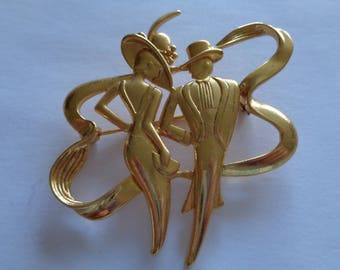Vintage Signed Goldtone Art Deco Lady/Man Brooch/Pin