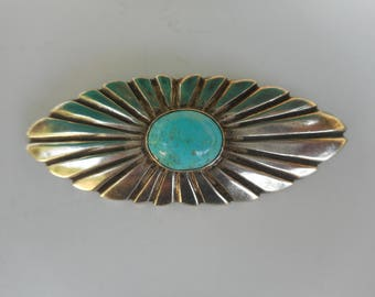 Sterling Silver and Turquoise Brooch / Pin
