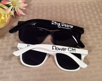 RINGBEARER/FLOWER GIRL Sunglasses. Made special for those little ones in your wedding. Free personalization!