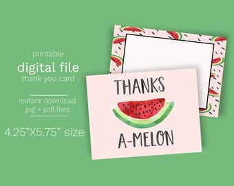 Instant Download Watermelon Thank You Card - Print Your Own PDF and JPG file included Printable Thank you digital Watermelon