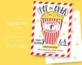 Popcorn and Movie Party Birthday Invitation DIGITAL FILE movie party invite popcorn party drive in birthday party popcorn theme party