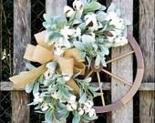 Farmhouse Wreath, Wagon Wheel Wreath, Lambs Ear Cotton Wreath, Burlap Wreath, Spring Wreath, Cottage Wreath, Fixer Upper Decor, Farmhouse