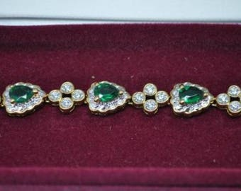 Jackie Kennedy Bracelet - Simulated Emeralds, Box and Certificate