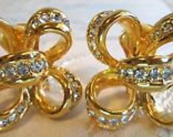 KJL Crystal Bow Earrings - Gold Tone Clipon  S2182