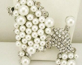 KJL Large White Poodle Pin  - S1604 Silvertone