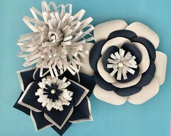 Blue silver grey paper flowers wall decor