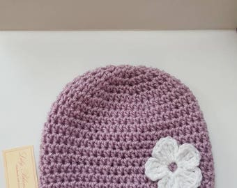 Crochet Baby Girl Hat with Flower