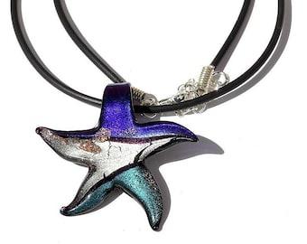 "Star pendant necklace lampwork Starfish 3 colors on rubber cord: ""Seastar"" - M01"