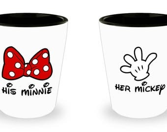 Her Mickey and His Minnie Mouse Disney Shot Glass (SET OF 2) Gift Disneyland Love Couple