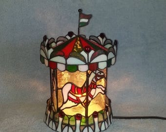 Carousel Nightlight - Stained Glass Carousel - Stained Glass Lamp
