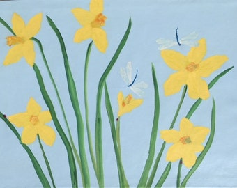 Daffodils in Spring Blue