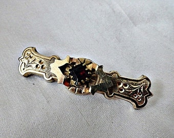 ON SALE Antique Victorian Gold Filled and Paste Garnet Pin, Brooch, ca 1880's