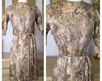 1950 60s Lurex Dress by Henry Lee -- Glowing Metallic Sheath Dress with Original Tie Belt
