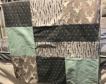 Baby crib blanket ,deer heads, aqua blue, feathers  and