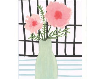blank cards - blank inside greeting cards - floral greeting card - all occasion cards - hand painted greeting card - just because cards