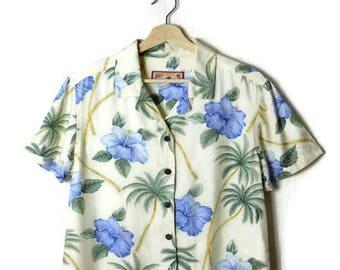 Vintage Hawaiian Slouchy Blouse from 90's/Hawaiian Shirt/hibiscus*