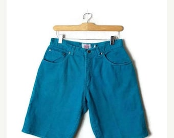 ON SALE Vintage Greenish Blue Denim Shorts from 90's/W27*