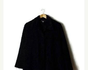 ON SALE Vintage Plain Black  Fluffy Long sleeve Blouse from 90's/minimalist/Minimal*