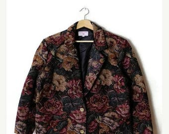 ON SALE Vintage Oversized Floral Cotton Tapestry Blazer Jacket  from 80's*