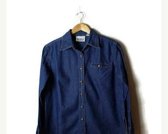 ON SALE Vintage Blue Denim Long sleeve Blouse from 90's*