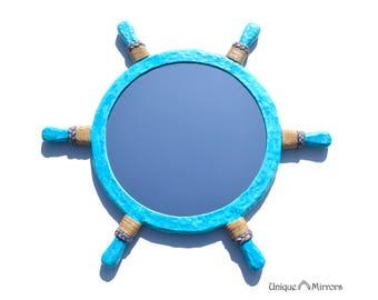 LARGE HELM MIRROR, Blue Nautical Mirror, Decorative Wall Mirrors, Large Round Mirror, Blue Helm Mirror with Hemp Rope Decoration, Mirrors
