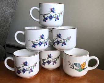 Set of 6 Vintage Woodhill by Citation Floral 10 oz Coffee Cups Mugs