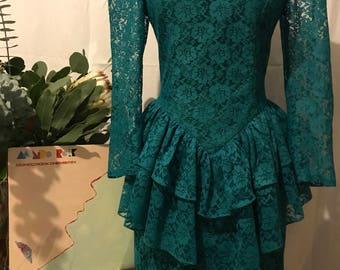 Vintage 80's Lace Dress Ruffles Puff Shoulders MADONNA Medium MINTOX!