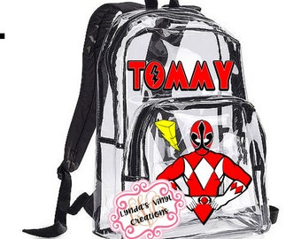 Super Hero Red Power Ranger Inspired Personalized Clear Backpack