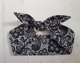 Black & Grey Lace Effect Rockabilly Head Scarf - Wired or Not - Floral Burlesque