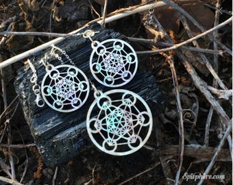 Metatron's Cube Earring and Necklace Set - Mother of Pearl
