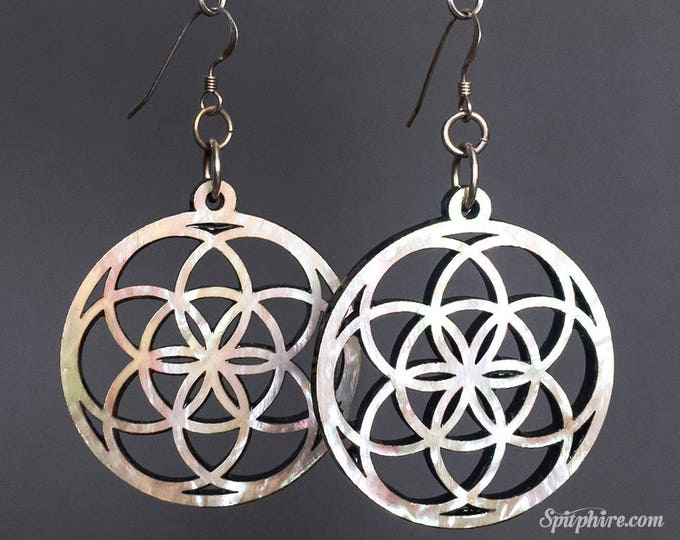 Flower of Life Earrings - Large - Mother of Pearl