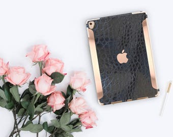 "Black Mica Alligator and Rose Gold for the iPad Pro 9.7 / iPad Pro 10.5"" / iPad 9.7"" Smart Keyboard compatible Hard Case - Platinum Edition"