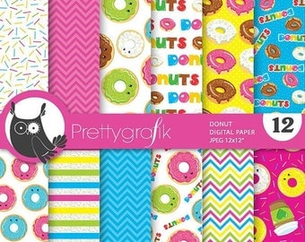 80% OFF SALE Delicious donuts digital paper, commercial use, scrapbook papers, background, dessert - PS721