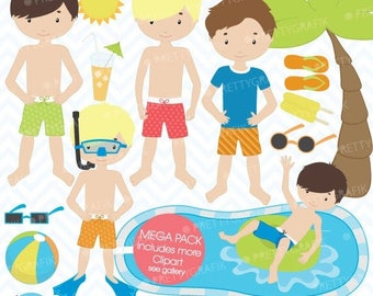 80% OFF SALE pool party clipart commercial use, vector graphics, digital clip art, digital images  - CL453