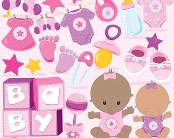80% OFF SALE Baby girl clipart commercial use, baby shower vector graphics, pink digital clip art, digital images - CL834