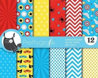 80% OFF SALE Superhero babies digital papers, commercial use, scrapbook papers, background  - PS726