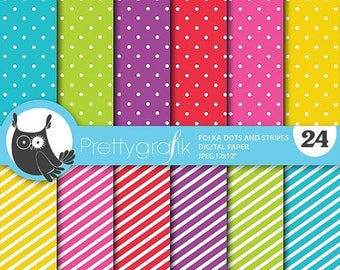 80% OFF SALE Polka dots and stripes digital paper, commercial use, scrapbook papers, background polka dots, stripes - PS670