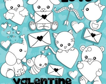 80% OFF SALE Valentine Animals digital stamp commercial use, vector graphics, digital stamp, digital images, Valentine clipart - DS939