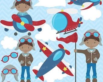 80% OFF SALE airplane pilot clipart commercial use, vector graphics, digital clip art, digital images - CL653