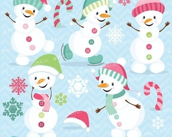 80% OFF SALE Happy PINK Snowman clipart commercial use, vector graphics, digital clip art, digital images  - Cl620