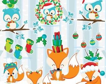 80% OFF SALE Christmas woodland clipart commercial use, Fox clipart, christmas fox, woodland animals vector graphics, clip art - CL1045