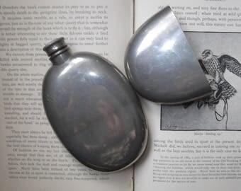 Vintage Pewter Hip Flask , Oval Pewter Hip Flask , Vintage Hip Flask ,