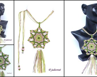Rainbow Moonstone necklace - Mandala - Art c 0188
