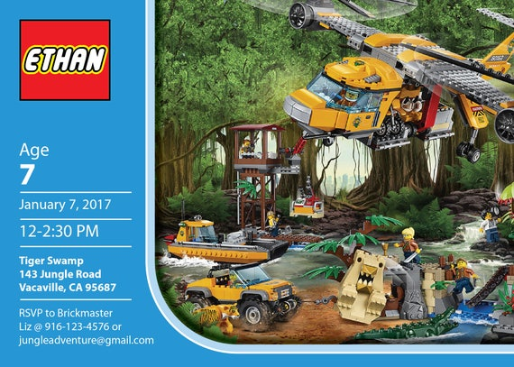Lego Jungle Personalized Birthday Invitation / PRINTABLE / Digital ...