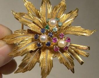 18k Rubies Sapphires Emeralds and Pearls Flower Spray Brooch 1960s