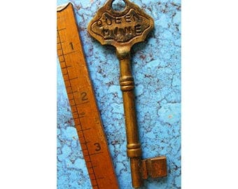 Old Brass Victorian Skeleton Key With Queen Mine 1899 Stamped Bow