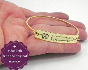 20% OFF - Personal soundwave bracelet, waveform bracelet, custom sound wave bangle, personalized waveform jewelry, engraved sound wave