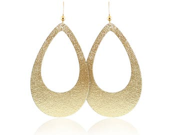 Gold leather earrings, gold teardrop cutout earrings, leather earrings, leather teardrop earrings