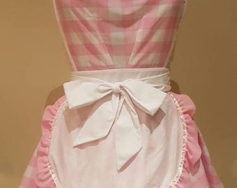 The Audrey Double Diner Apron - Pink Gingham