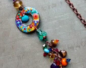 Whimsical Free Spirited enamel glass Pendant Necklace, fine gemstones, lampwork beads, crystals, Artisan handmade OOAK boho modern jewelry